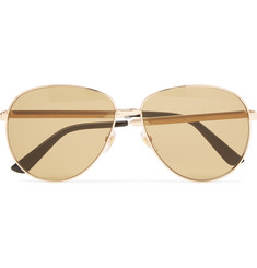 Gucci Aviator-Style Enamelled Gold-Tone Sunglasses