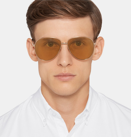 Aviator Style Enamelled Gold Tone Sunglasses by Gucci