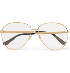 Gucci - Aviator-Style Gold-Tone Optical Glasses
