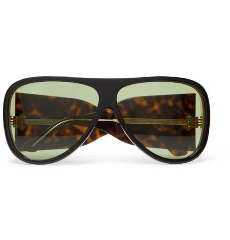 2b899ea7877 Gucci Oversized Aviator-Style Acetate Sunglasses - Black - One Siz ...
