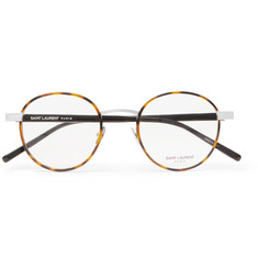 Saint Laurent - Round-Frame Tortoiseshell Acetate and Silver-Tone Optical Glasses