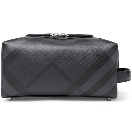 Checked Leather Trimmed Textured Pvc Wash Bag by Burberry