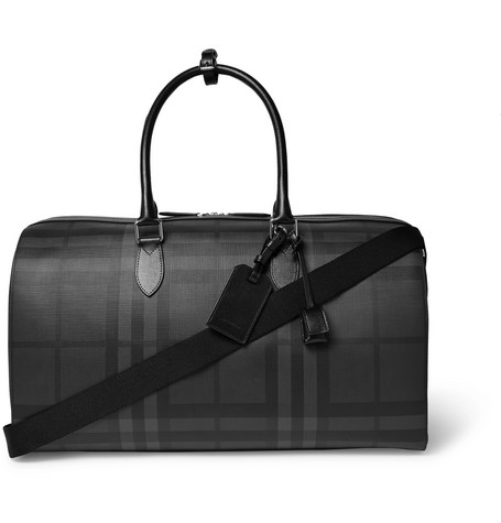 Checked Leather Trimmed Textured Pvc Holdall by Burberry