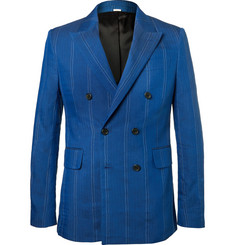 Stella McCartney Cobalt Slim-Fit Double-Breasted Pinstriped Linen-Blend Suit Jacket