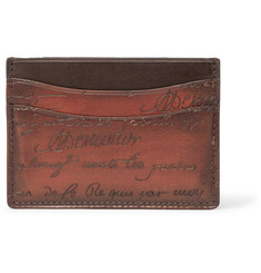 Berluti Bambou Scritto Embossed Polished Venezia Leather Cardholder