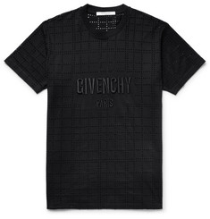 Givenchy Embroidered Laser-Cut Cotton-Jersey T-Shirt