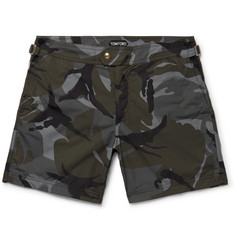 TOM FORD Slim-Fit Mid-Length Camouflage-Print Swim Shorts