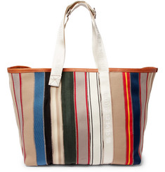 Maison Margiela - Leather-Trimmed Striped Canvas Tote Bag