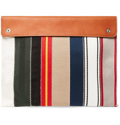 Maison Margiela Leather-Trimmed Striped Canvas Pouch