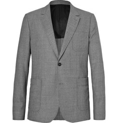 AMI Grey Slim-Fit Basketweave Mélange Wool Blazer