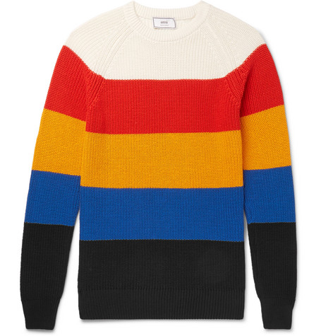 Slim Fit Striped Cotton Sweater by Ami