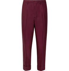 AMI - Slim-Fit Tapered Pleated Stretch-Twill Trousers