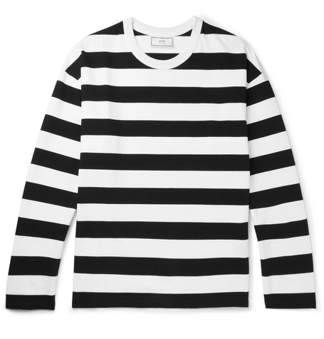 Ami Alexandre Mattiussi Striped Cotton-jersey T-shirt In Black