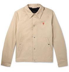 AMI Embroidered Cotton-Twill Blouson Jacket