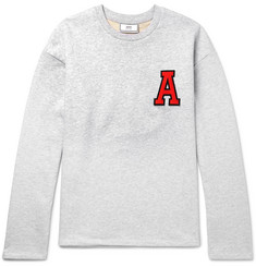 AMI Appliquéd Loopback Cotton-Jersey Sweatshirt