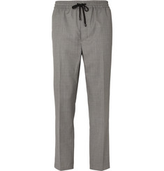 AMI - Slim-Fit Tapered Virgin Wool-Twill Drawstring Trousers
