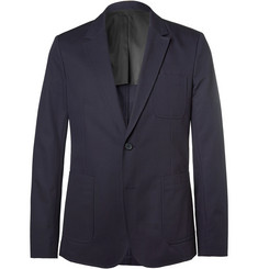 AMI Navy Slim-Fit Cotton-Twill Blazer