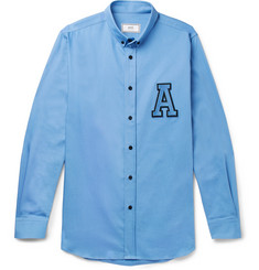 AMI Button-Down Collar Appliquéd Cotton Shirt