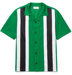 AMI Camp-Collar Striped Jersey Shirt