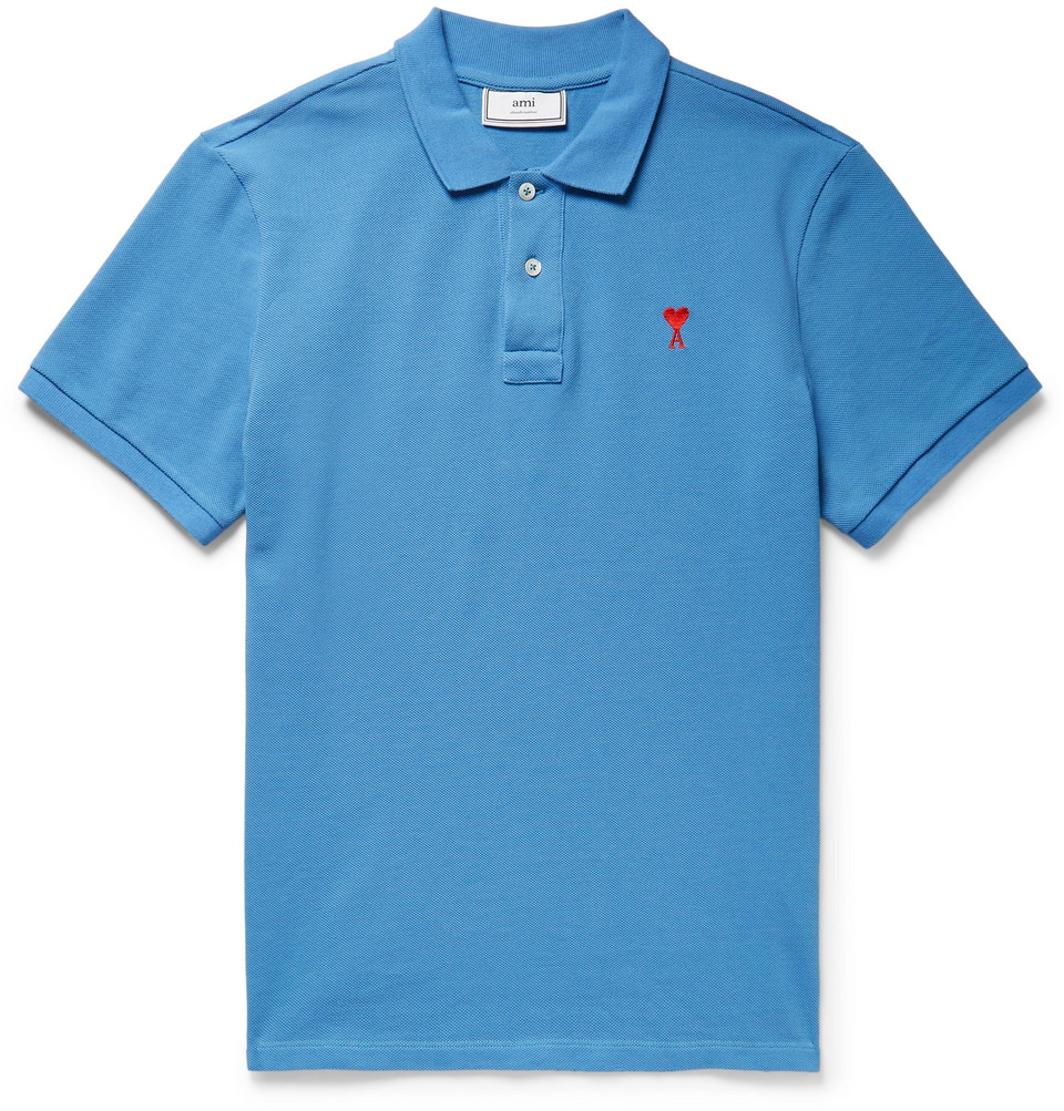 Embroidered Cotton-piqué Polo Shirt - Blue