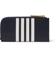 Thom Browne Striped Pebble-Grain Leather Zip-Around Wallet
