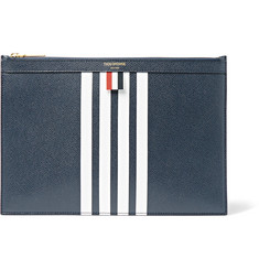 Thom Browne Striped Pebble-Grain Leather Pouch