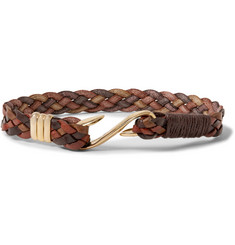 Paul Smith Woven Leather and Gold-Tone Bracelet