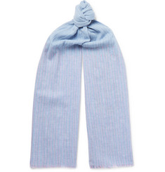 Paul Smith Fringed Striped Cotton Scarf