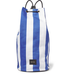 Paul Smith Leather-Trimmed Striped Canvas Backpack
