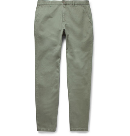 Cotton-twill Chinos - Green