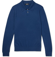 A.P.C. Knitted Cotton and Cashmere-Blend Polo Shirt
