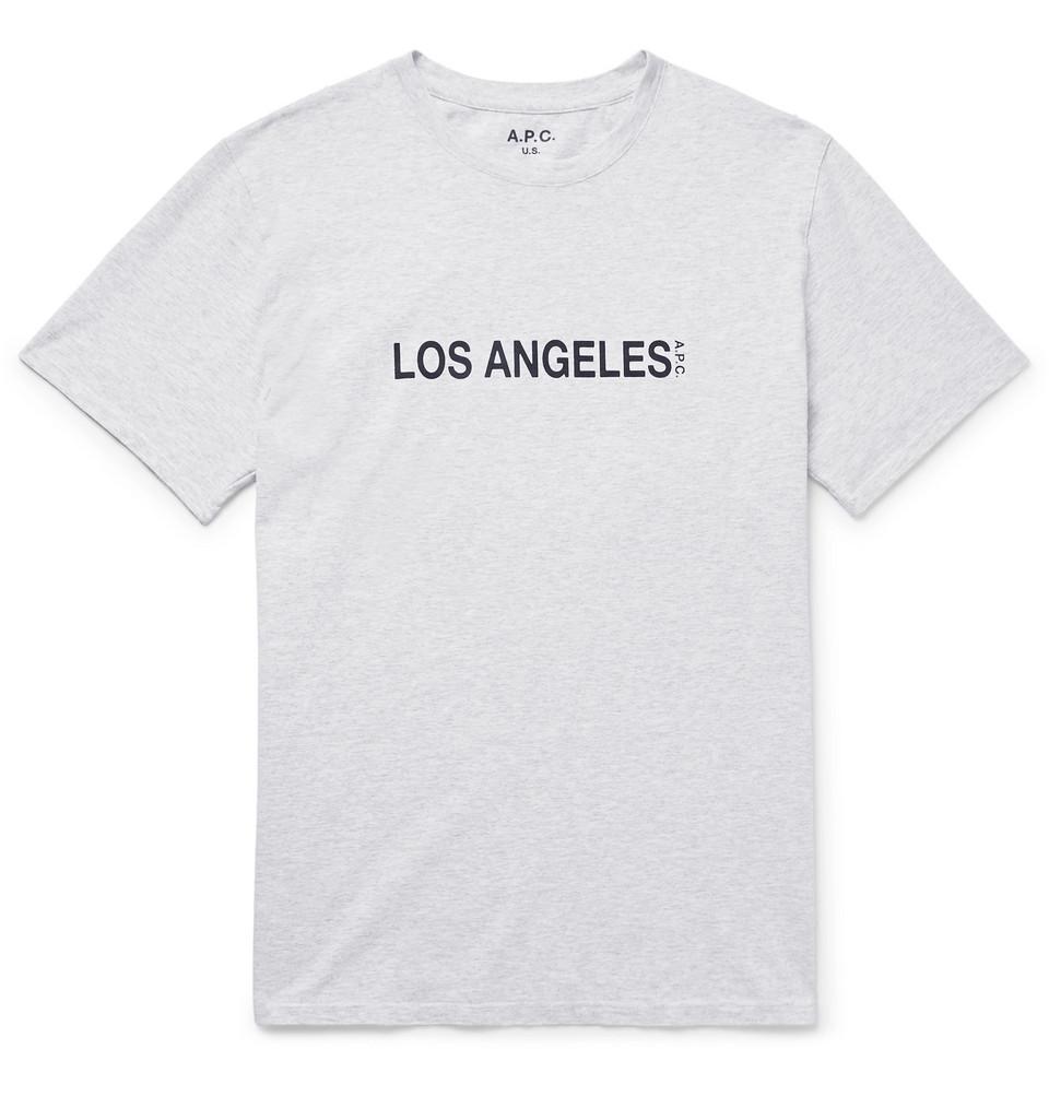 Printed Mélange Cotton-blend Jersey T-shirt - Gray
