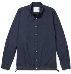Sacai Typewriter Button-Down Collar Shell-Trimmed Cotton Shirt