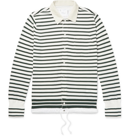 Sacai Shell-Trimmed Striped Cotton Cardigan In White