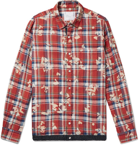 Sacai Shell-trimmed Bleached Checked Linen Shirt - Red
