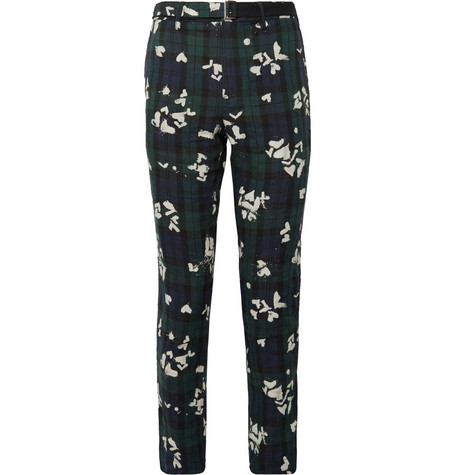 Sacai Slim-fit Bleached Black Watch Checked Linen Trousers In Navy