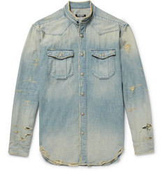Balmain - Slim-Fit Grandad-Collar Distressed Denim Shirt