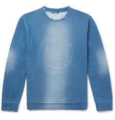 Balmain Debossed Distressed Indigo-Dyed Loopback Cotton-Jersey Sweatshirt