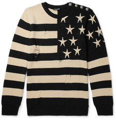 Balmain Distressed Intarsia Linen Sweater