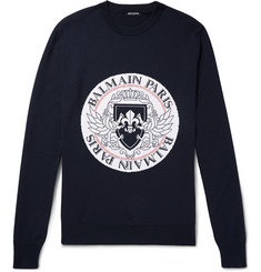 Balmain Intarsia Virgin Wool-Blend Sweater