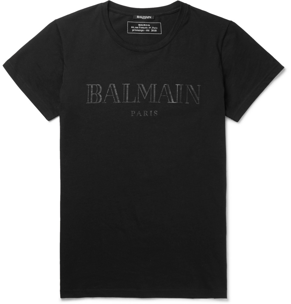 Slim-fit Printed Cotton-jersey T-shirt - Black