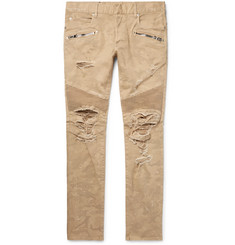 Balmain Skinny-Fit Distressed Camouflage-Print Stretch-Denim Biker Jeans