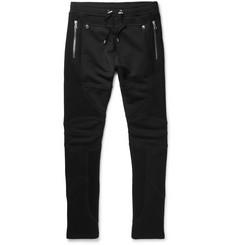 Balmain Skinny-Fit Mesh-Panelled Loopback Cotton-Jersey Sweatpants