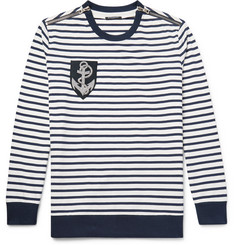Balmain Zip-Detailed Appliquéd Striped Cotton Sweater