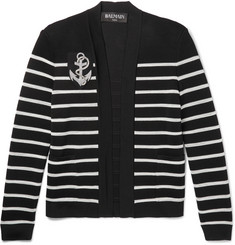 Balmain - Appliquéd Striped Knitted Cardigan