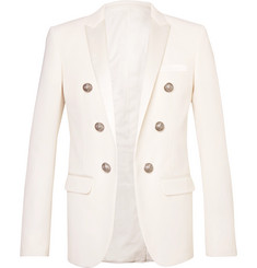 Balmain - Slim-Fit Double-Breasted Satin-Trimmed Wool-Twill Blazer