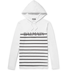 Balmain Striped Cotton-Jersey Hoodie