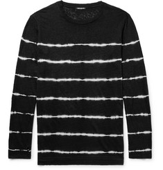 Balmain Slim-Fit Tie-Dyed Striped Linen T-Shirt