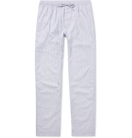 Zimmerli Metropolitan Tropicals Striped Cotton-poplin Pyjama Trousers In White