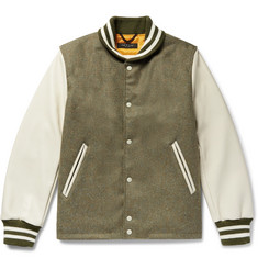 rag & bone + Golden Bear Leather-Panelled Wool Bomber Jacket